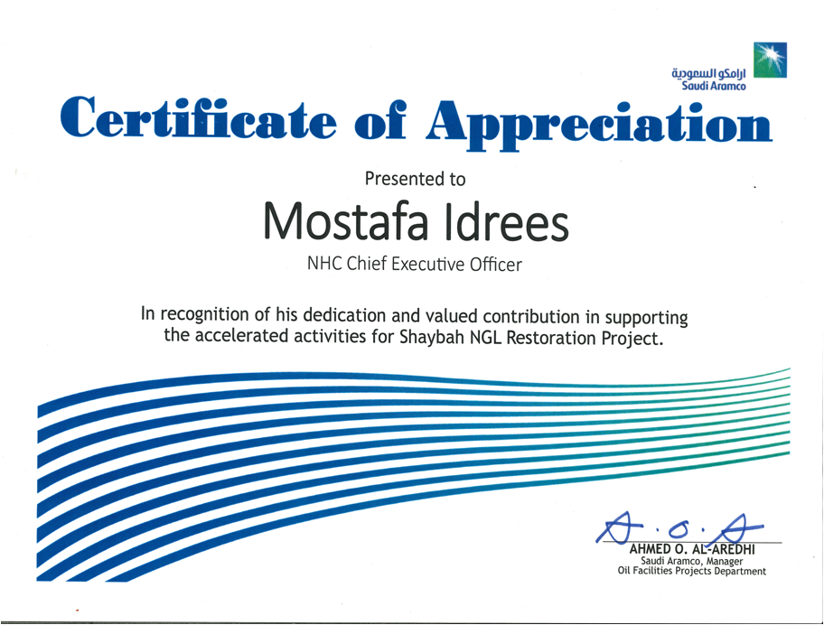 Appreciation Received from SAUDI ARAMCO